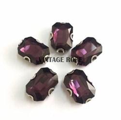 Стразы в цапах 10*14 мм, форма прямоугольник Фиолетовый - фото 11054