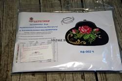 Набор для изготовления косметички Роза на черном - фото 11505