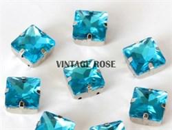 Стразы в цапах, квадрат, 10*10 мм, голубой, 5 шт/уп - фото 11808