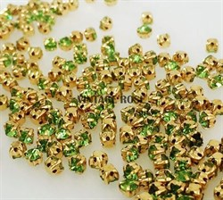 Стразы в цапах, 4мм, св. зеленый, в золоте - фото 12007