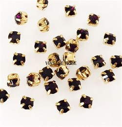 Стразы в цапах, 4мм, Темно Фиолетовый, упаковка 10 штук, в золоте - фото 12011