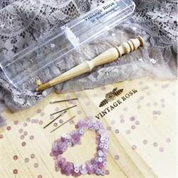 Люневильский крючок с 4-мя иглами бренда Vintage Rose Шахматы, ванильный цвет - фото 13744