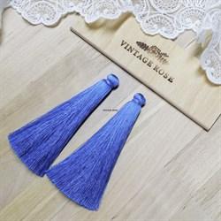 Вискозные кисточки для сережек 9,5 см, Светло-синие - фото 14537
