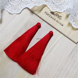 Вискозные кисточки для сережек 9,5 см, Красные - фото 14541