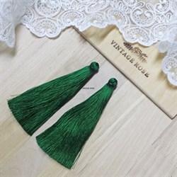 Вискозные кисточки для сережек 9,5 см, Темно-зеленые - фото 14545