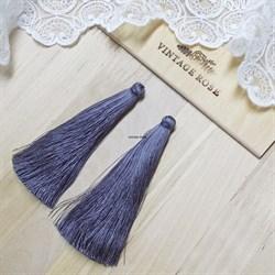 Вискозные кисточки для сережек 9,5 см, Серые - фото 14557