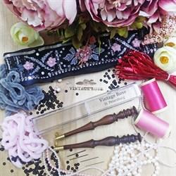 Люневильский крючок с 4-мя иглами бренда Vintage Rose Шахматы, шоколадный цвет - фото 14574