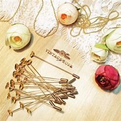 Булавка для броши или бутоньерки, шляпная булавка. Цвет: золото. 76 мм. (Золотой) - фото 14612