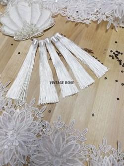 Вискозные кисточки для сережек 12 см, белые - фото 14661