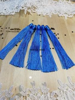 Вискозные кисточки для сережек 12 см, голубые - фото 14663