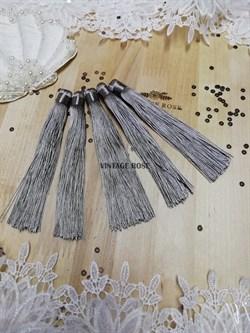 Вискозные кисточки для сережек 12 см, серые - фото 14664