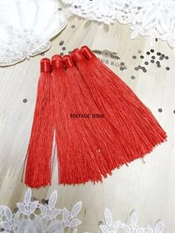 Вискозные кисточки для сережек 12 см, красные - фото 14665