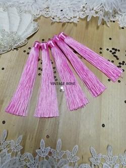 Вискозные кисточки для сережек 12 см, розовые - фото 14667