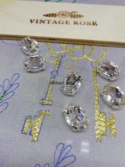 Стразы Премиум в ювелирных кастах, ОВАЛ 10*14 мм бриллиант 1 шт. - фото 14979