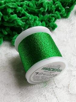 Нитки Madeira Metallic с люрексом зеленые 100 метров - фото 15568