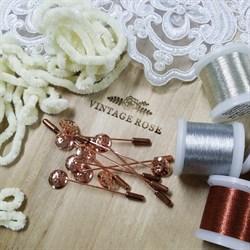 Булавка для броши с перфорированным диском 12 мм, шляпная булавка. Цвет: розовое золото. 60 мм. - фото 16181