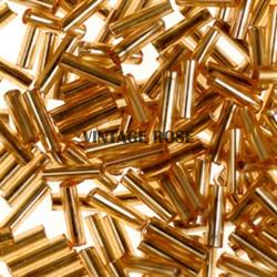 Бисер стеклярус АСТРА 5мм прозрачный/с серебристой серединкой золотой (22В), 20г