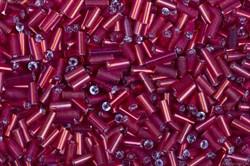 Бисер стеклярус АСТРА 5 мм непрозрачный/с серебряной серединой бордовый (25), 20г
