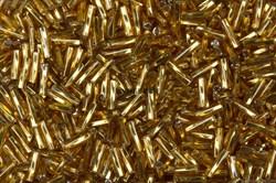 Бисер стеклярус АСТРА 5мм прозрачный/цветной крученый золотой (М-22Т), 20г - фото 8286