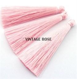 Вискозные кисточки для сережек 7 см, Розовые - фото 8475
