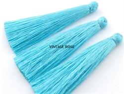 Вискозные кисточки для сережек 7 см, Голубые - фото 8476