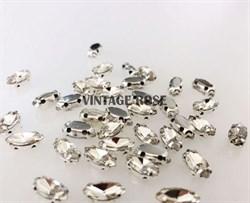 Стразы в цапах, 4*8 мм, бриллиант, 10 шт/уп - фото 8729