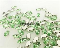 Стразы в цапах, 4*8 мм, зеленый, 10 шт/уп - фото 8749