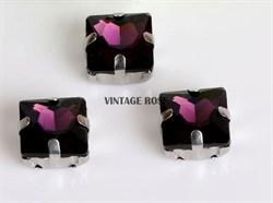 Стразы в цапах, квадрат, 10*10 мм, фиолетовый, 5 шт/уп - фото 8774