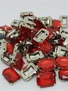 Стразы пришивные в цапах, 10*14 мм, красные 10шт/уп