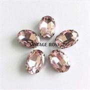 Стразы в цапах 13*18 мм, форма овал Розовый