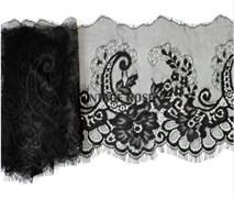 Кружево эластичное шантильи с ресничками, 22.5 см ширина, Ольга, черное
