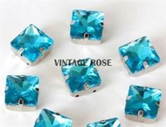 Стразы в цапах, квадрат, 10*10 мм, голубой, 5 шт/уп