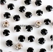 Стразы в цапах, 4мм, черные, серебро
