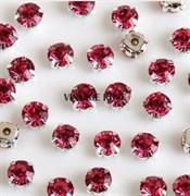Стразы в цапах, 4мм, темно розовый, серебро
