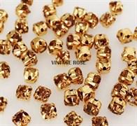 Стразы в цапах, 4мм, Желтый, упаковка 10 штук, в золоте