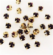 Стразы в цапах, 8мм, Темно Фиолетовый, упаковка 10 штук, в золоте