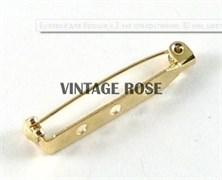 Булавка для броши с 3-мя отверстиями, 32 мм, с золотым покрытием