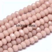 Граненые бусины, жемчужно-розовый, 3*4 мм, Чехия