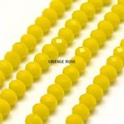 Граненые бусины, лимонный, 3*4 мм, Чехия