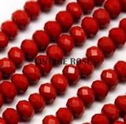Граненые бусины, красный, 3*4 мм, Чехия