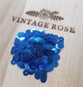 Пайетки 4мм плоские  #А5 Италия, металлизированные синие