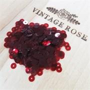Пайетки 4мм плоские Red LU #4452 Италия, прозрачные