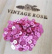 Пайетки 4мм плоские  Dark Pink ST07 #396W Италия, атласные