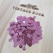 Пайетки 4мм плоские Pink MT #3821 Италия, металлизированные