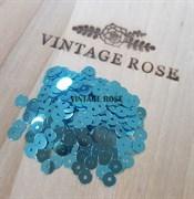 Пайетки 4мм плоские Light Blue MT #6111 Италия, металлизированные