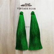 Вискозные кисточки для сережек 10 см, Зеленые