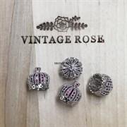 Шапочка для кисточки под серебро розовые камни, 13 мм (Серебро)