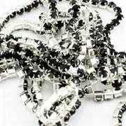 Лента из страз 2 мм, Черная в серебре