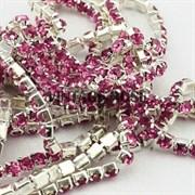 Лента из страз, 4 мм, Темно-розовая, 10 см (Розовый)