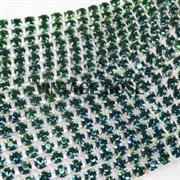 Лента из страз, 4 мм, Изумрудная, 10 см (Зеленый)